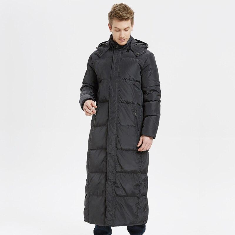 Di alta Qualità 2018 Nuovi Uomini di Inverno delle Imbottiture Giacca 5XL Extra Lungo Anatra Imbottiture Cappotto Addensare Warm Antivento Maschio Outwear -30C CO098