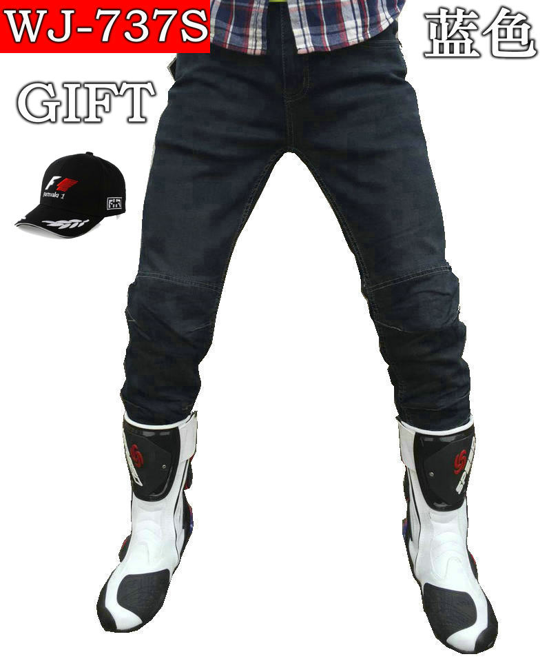 Free Delivery 2017 New arrival motorcycle jeans,racing pants Stretch skinny fit denim jeans WJ-737S