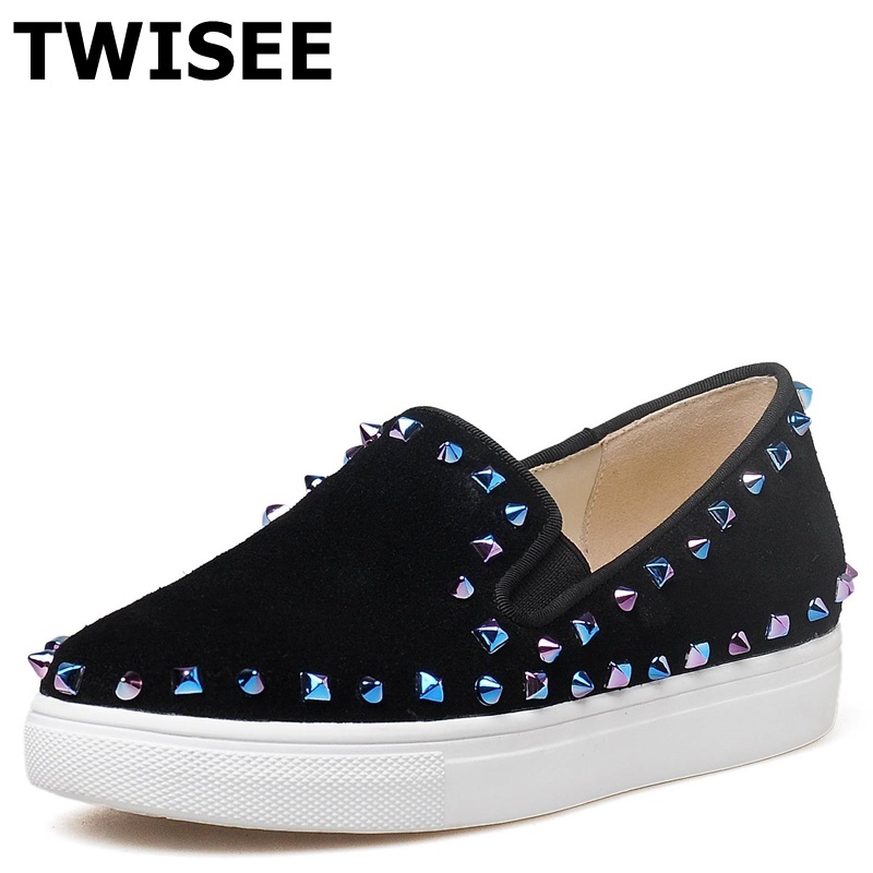 TWISEE Genuine Leather chaussure femme women flat shoes Beautiful round toe Solid summer flats Rivet woman casual shoes weweya 2017 summer candy colors ladies flats fashion pointed toe shoes woman new flat shoes women plus size chaussure femme