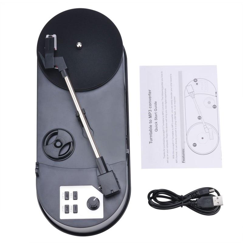 Mini convertisseur MP3 Ezcap613P 33/45 tours/min platine vinyle pour enregistrer de la musique sur clé USB/carte SD haut-parleur intégré
