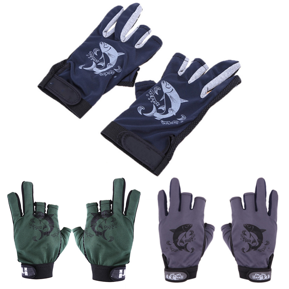 1 Pair Skidproof Resistant Half Finger Pack Cycling Fishing Anti-Slip Black, Green, Dark Blue Plastic Drop Glove 27g
