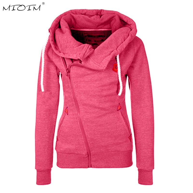 MIOIM Winter Autumn Women Hooded Coat Long Sleeve Hooded Jacket Womens Warm Inclined Zipper Design Sweatshirt