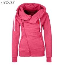 MIOIM Winter Autumn Women Hooded Coat Long Sleeve Hooded Jacket Womens Warm Inclined Zipper Design Sweatshirt Women Sudaderas
