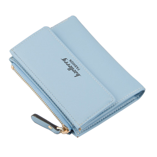 baellerry 1x blue PU leather ladies simple buckle zipper multi-card bit two fold money purse card bag size about:12.5x9.5x1.7cm
