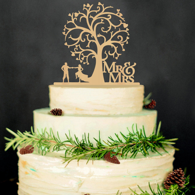 Mr Mrs Wedding Cake Toppers Tree Wood Decorations Funny Bride And Groom
