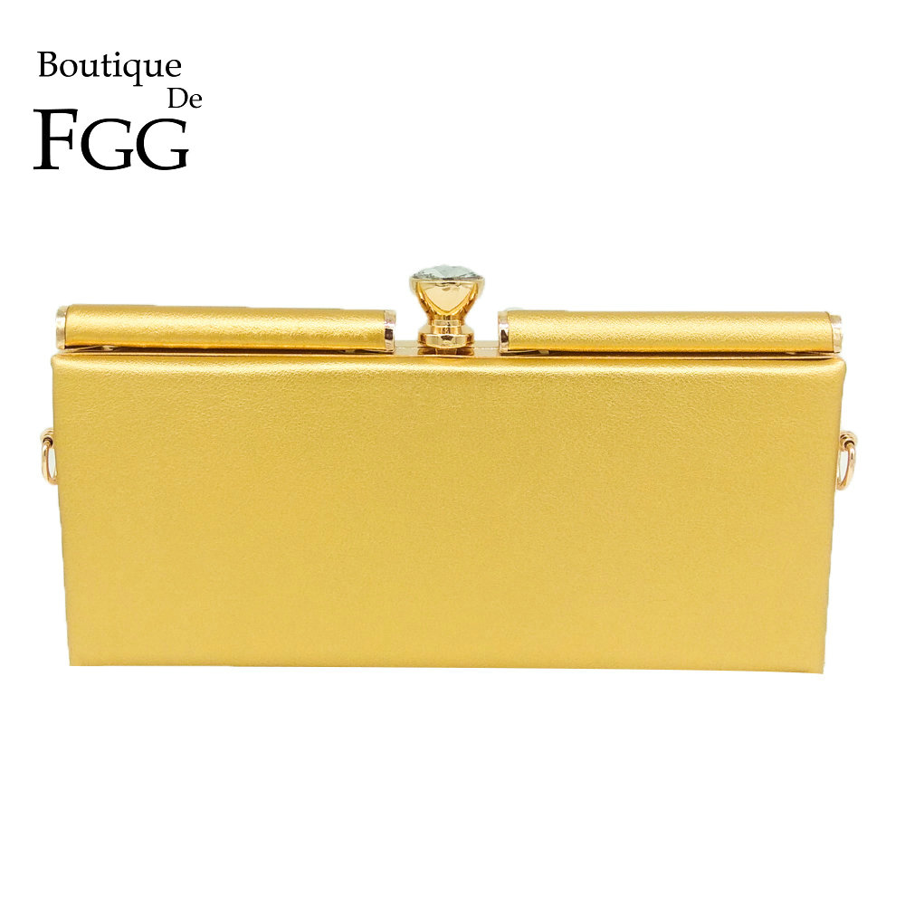Boutique De FGG Large Diamond Gold PU Women Fashion Day Clutches Handbag Business Lady Metal Clutch Purse  Chain Shoulder Bag yuanyu 2018 new hot free shipping real python leather women clutch women hand caught bag women bag long snake women day clutches