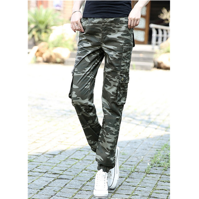 5291efbb269 Army Green Casual Camouflage Pants Trousers Women Loose Cargo Trousers  Multi Pocket Khaki Pants Military Female Plus Size S-XXXL
