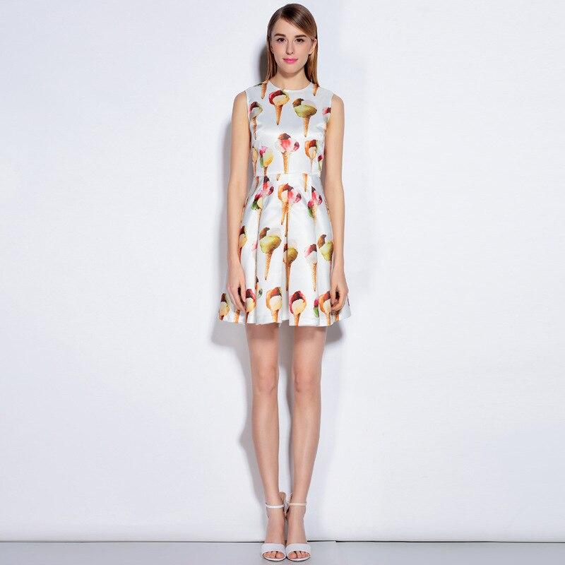 Newest Runway Dress 2017 Women's Spring Summer Brand Designer Icecream Print Sleeveless Tank Dress High Quality Mini Dress