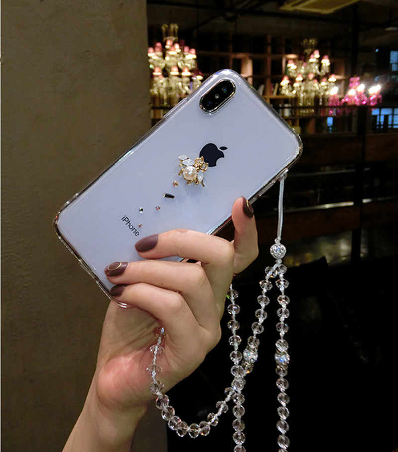 LaMaDiaa New United States rhinestones bees phone case For iPhone6 leather shell 7 8Plus X XR XS MAX pearl protection sets tide