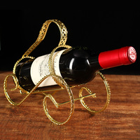 European wine bar restaurant bar iron shelf rack KTV living room Wine twisted gold ornaments nouveau riche