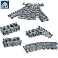 Городской поезд Гибкая дорога рельс пересечение прямые изогнутые рельсы строительные блоки наборы LegoINGs кирпичи развивающие игрушки для де...