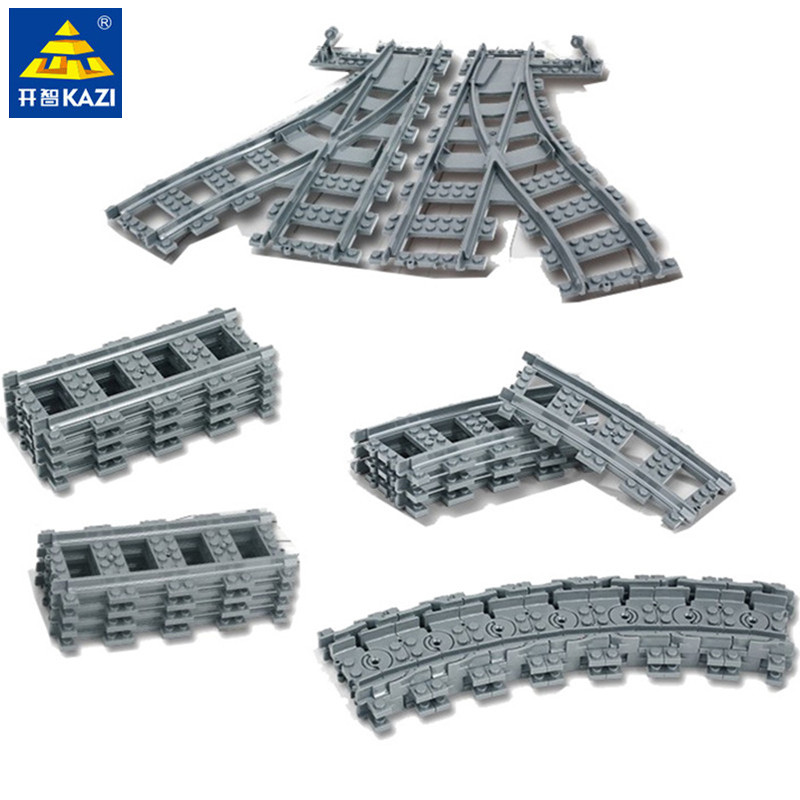 City Train Flexible Track Rail Crossing Straight Curved Rails Building Blocks Sets LegoINGs Bricks Educational Toys For Children