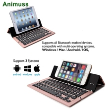 Animuss Foldable Bluetooth Keyboard,  Universal Portable 3.0 Wireless Keyboard with Kickstand Holder for Apple iPad