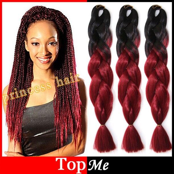 Ombre D\u0027expression Afro Kanekalon CORNROW Femmes Tressage Cheveux Noir Vin  Rouge 24 \u0027\u0027