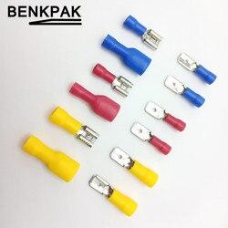 100 pièces FDD 1.25-250 MDD1.25-250 6.3mm rouge femelle + mâle bêche isolé électrique sertissage Terminal connecteurs câblage câble prise