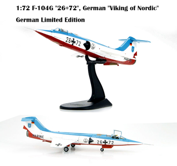 """HA1017 1:72 F-104G """"26+72"""", German """"Viking of Nordic""""  German Limited Edition  Fighter model  Alloy Collection Model"""