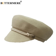 BUTTERMERE Baker Boy Hats Women Straw Beige Casual Military Cap Ladies Beret Hat Summer Spring Vintage Female Beach Army Caps buttermere cotton military caps for women pink army hat captain female solid casual baker boy cap beret ladies autumn sailor hat