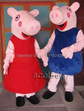 High quality pink pig mascot costume for adult fancy dress charactor party pig mascot costume + fast shipping