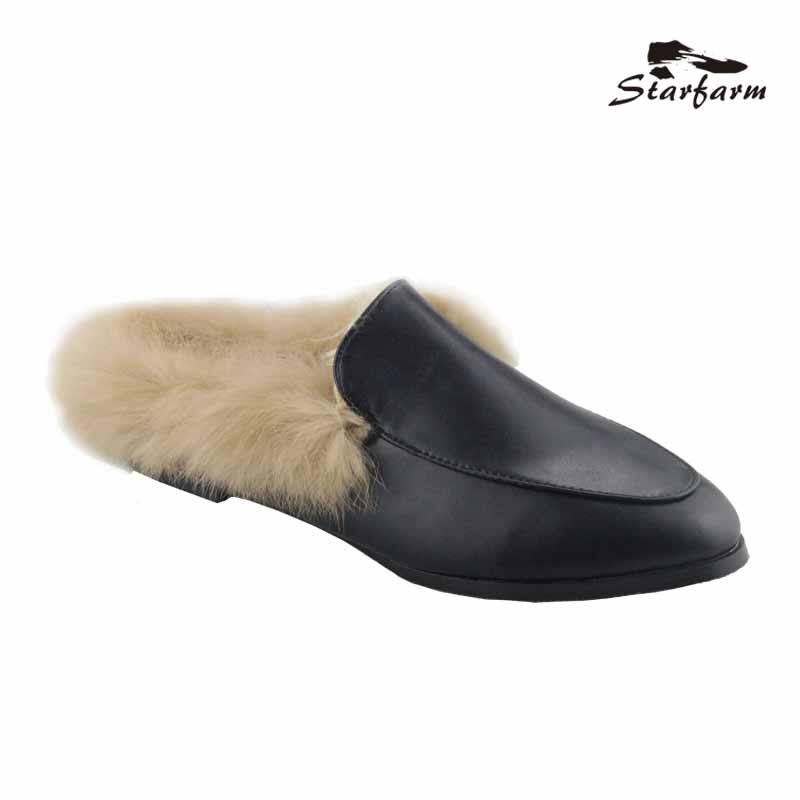 Starfarm Flat Mules Slippers Fur Leather Winter Oxford Slides Design Backless Women Slip Shoes Black Slip On Loafers 2017 summer men real leather casual slip on hollow out loafer mules open back slippers slides shoes