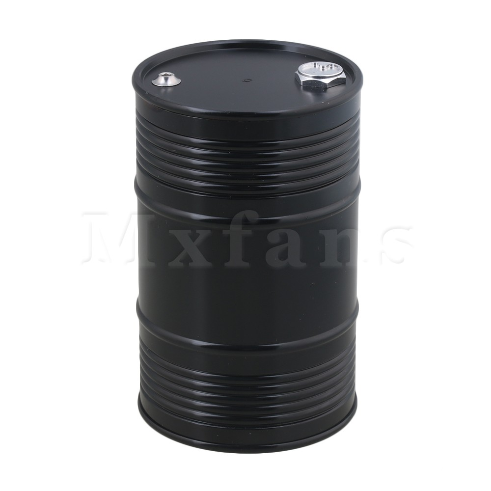 Mxfans Black FZ0001 Aluminum Alloy Metal Oil Drum Fuel Tank Container for RC1:8 1:10 1:18 Climbing Rock Crawler allen roth brinkley handsome oil rubbed bronze metal toothbrush holder