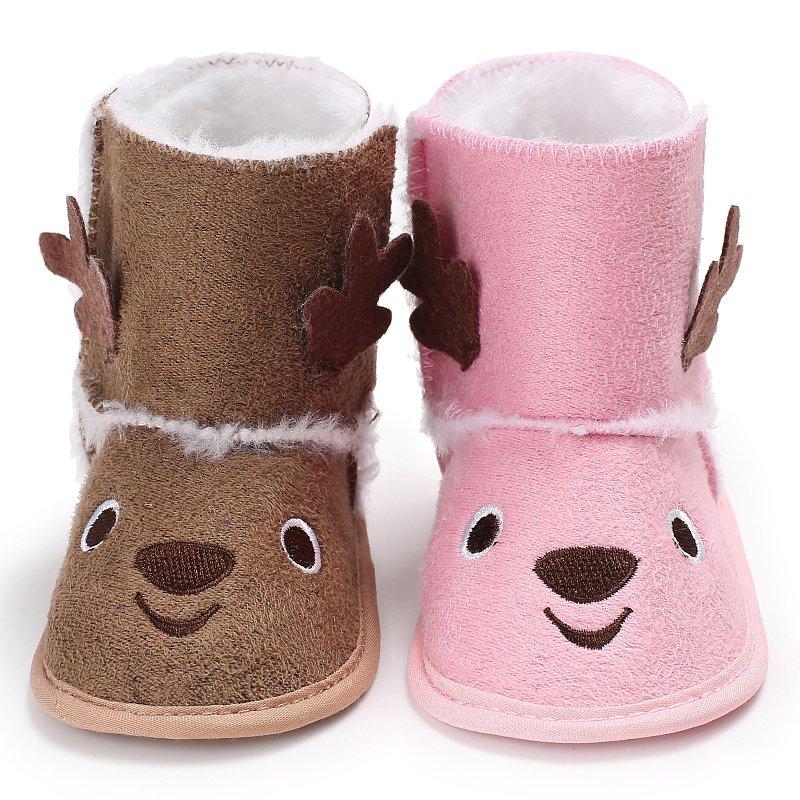 Winter Autumn Baby Toddler Lovely Cartoon Design Winter Warm Crib Snow Kid Bowknot Woolen Yam Fur First Walkers Shoes