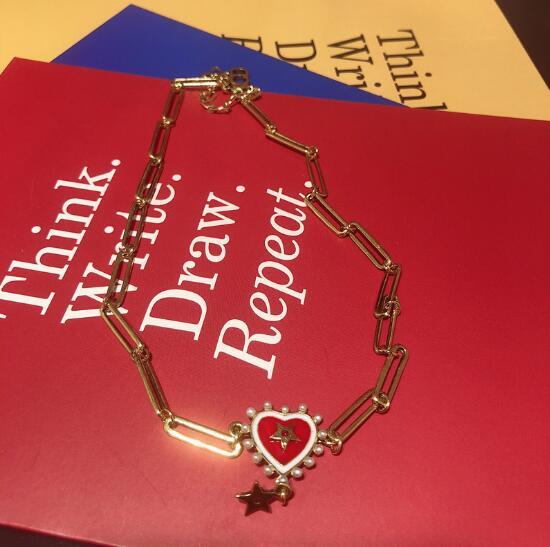 Estrella de cinco puntas en forma de corazón de hacer viejo simple collar de perlas elegante personalidad exagerada cuello cadena