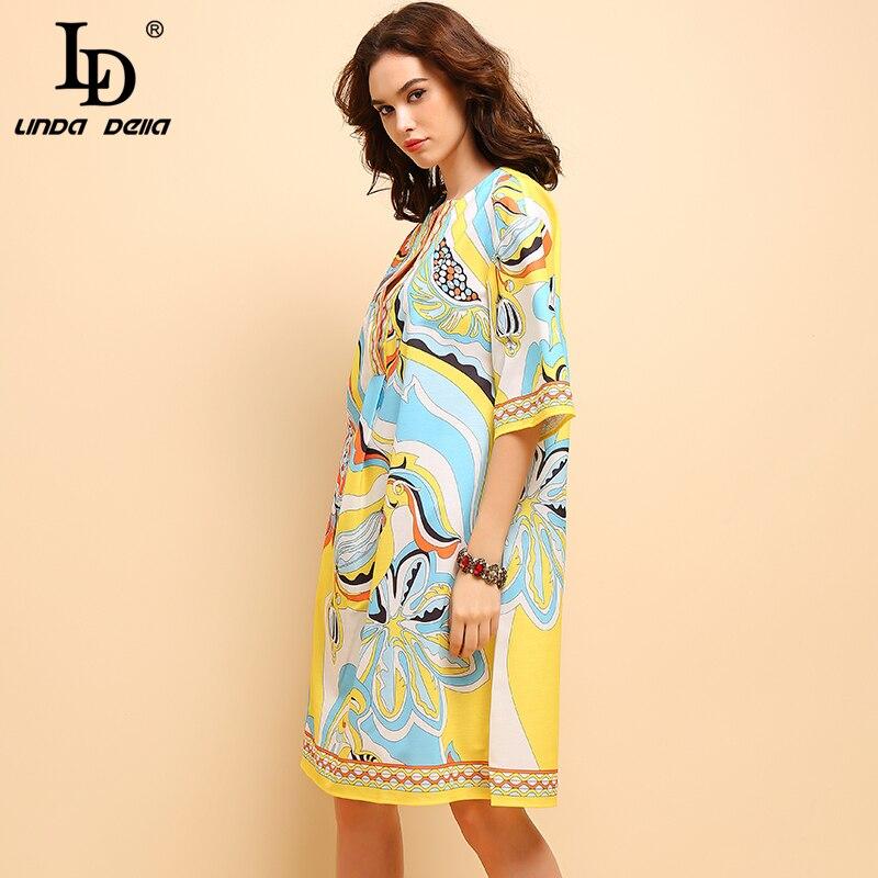 プラスサイズの女性の半袖花プリントエレガント休暇緩いドレス Nazan デッラ ファッションサマーミディドレス