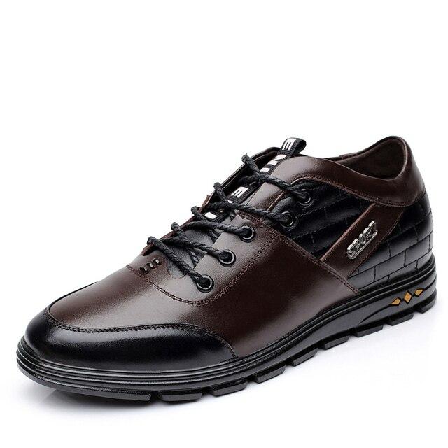 2016 Marca de Lujo de Los Hombres Botas de Cuero Aumento de la Altura de 6 cm Talón Oculto Calidad Zapatos de Los Hombres Zapatos Formales Botas de Invierno X090903