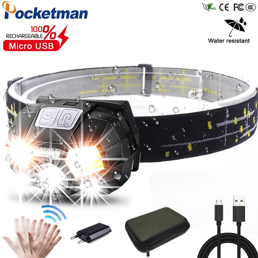 Powerfull Super Bright LED Headlamp Rechargeable Body Motion Sensor Headlight Camping Flashlight Head Light Torch Lamp With USB