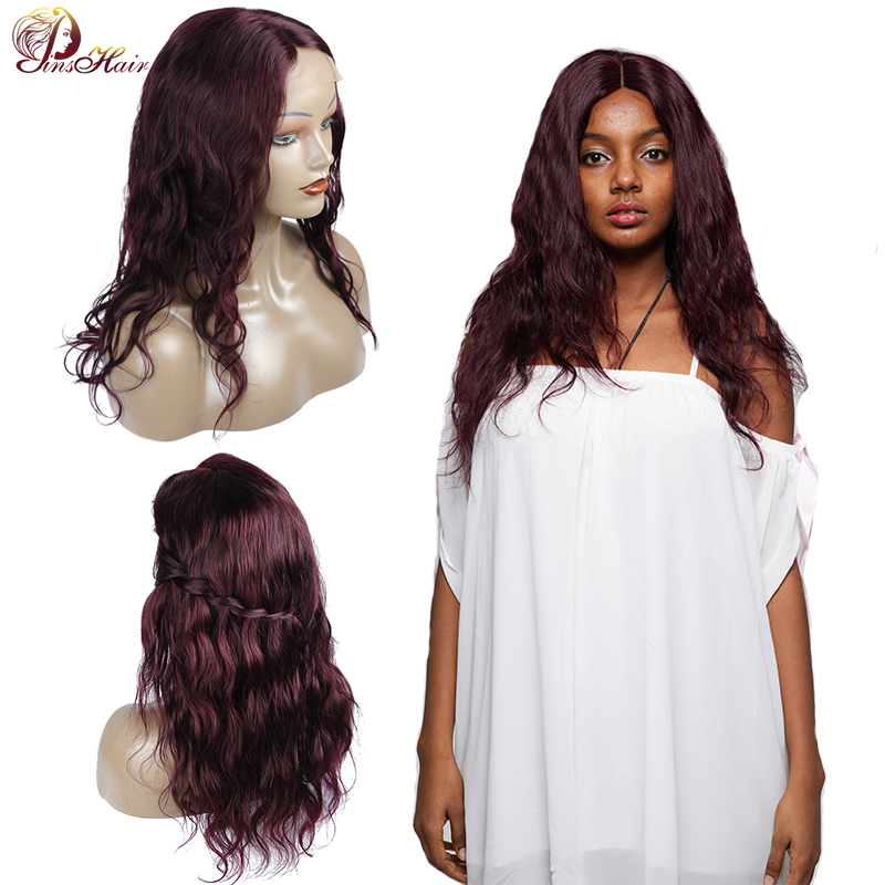 Peruvian Burgundy Purple Wigs For Black Women Body Wave Lace Front Human Hair Wigs 4*4 Lace Closure 180 Density No Shed Remy Wig