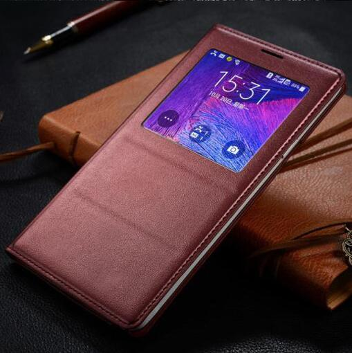 Note 4 Chip Window View Flip Case Smart Cover for Samsung Galaxy Note 4 N9100 N910F