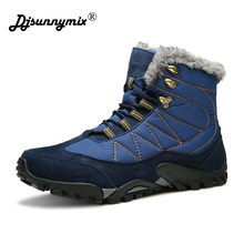 DJSUNNYMIX New Outdoor Climbing Traveling Camping Snow Boots Winter Fur Warm hiking Shoes Waterproof Ankle Botas men sneakers
