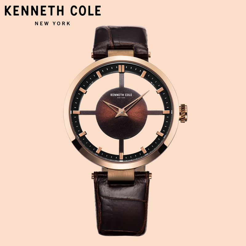 Kenneth Cole Women Watches Coffee Leather Strap Quartz See-through Brown Simple Lighter Ladies Luxury Brand Watches KC15004011 цена и фото