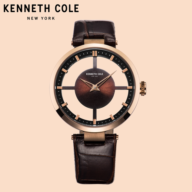 f162998c899 Kenneth Cole Women Watches Coffee Leather Strap Quartz See-through Brown  Simple Lighter Ladies Luxury Brand Watches KC15004011