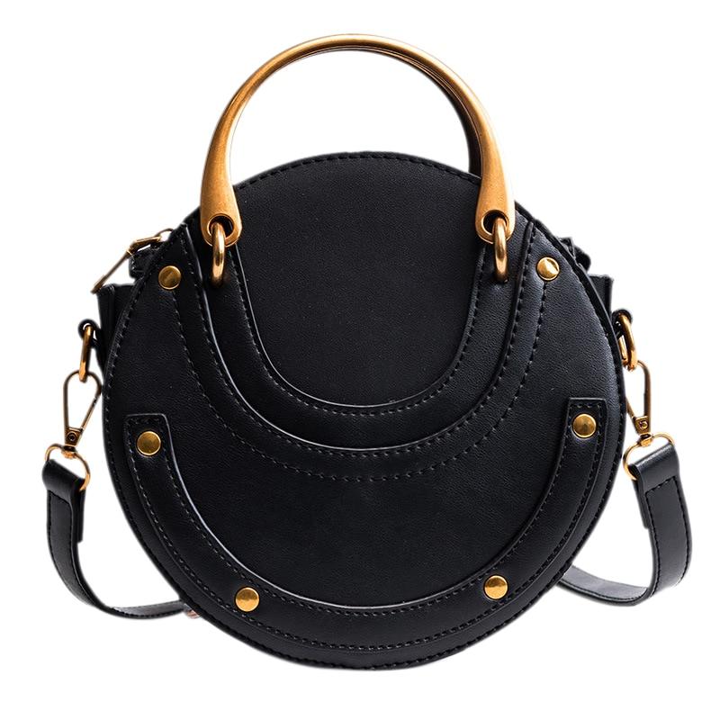 JHD-Women PU Leather Round Shape Top Handle Shoulder Purse Crossbody Bag(Black)JHD-Women PU Leather Round Shape Top Handle Shoulder Purse Crossbody Bag(Black)