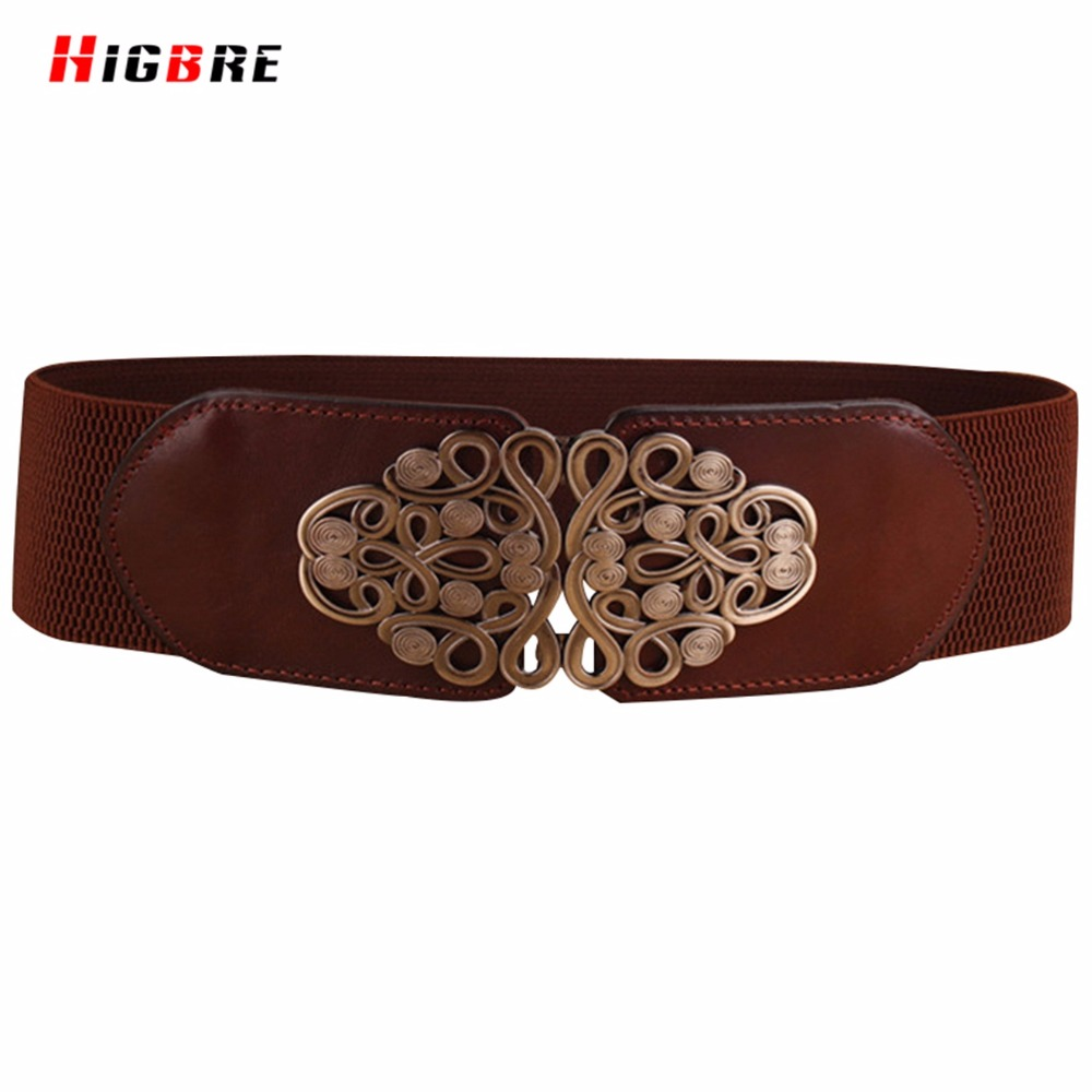 HIGBRE 2019 Lady Cummerbunds Genuine Leather Women Wide Belts Elastic Luxury Brand Belt For Women Casual Dress Metal Decoration