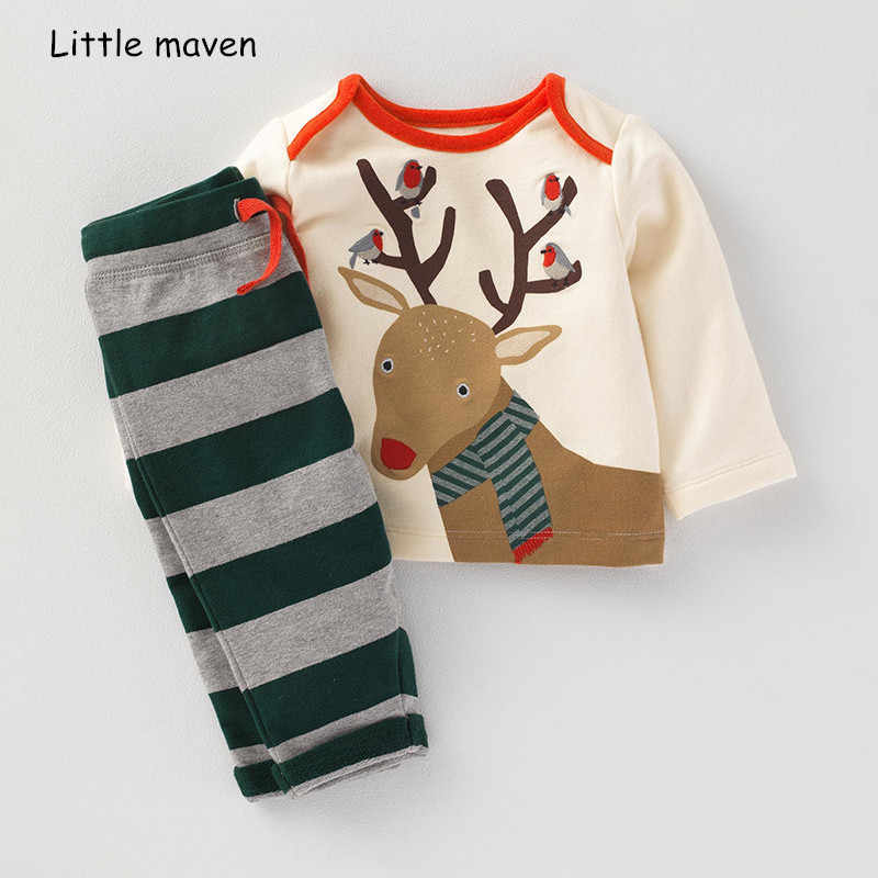Little Maven Anak Set Pakaian 2018 Musim Gugur Baru Anak Laki-laki Katun Merek Lengan Panjang Rusa Cetak T Shirt + Bergaris celana 20249