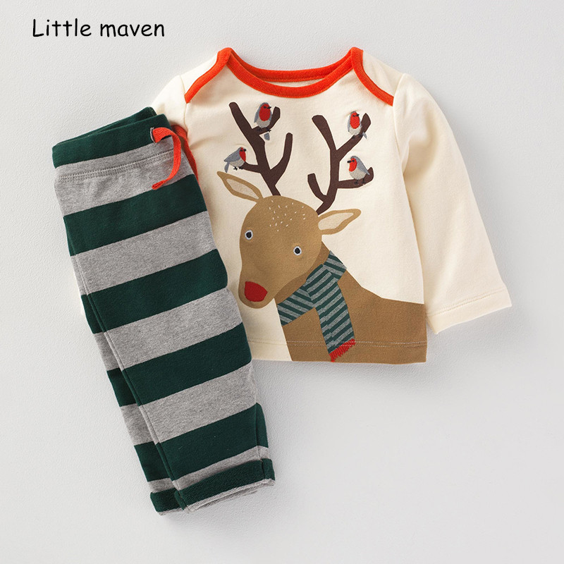 Little maven children's clothing sets 2018 autumn new boys Cotton brand long sleeve deer print t shirt + striped pants 20249 велосипед corvus corvus fb 710 2013