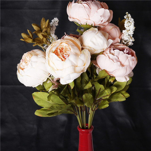 1 Bouquet Artificial Fake Peony Silk Flower Hydrangea Home Wedding Garden Decor Realistic Looking Decoration