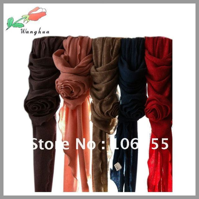 New arrival !!! 6pcs/ lot wholesale fashion triangle scarf with big rose, hot selling, multi colors