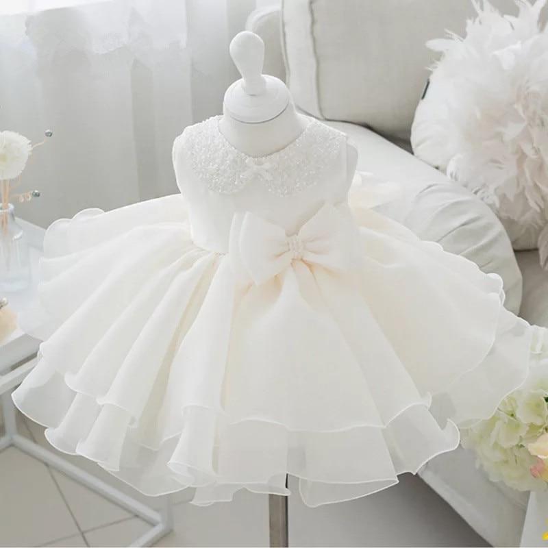 Newborn Baby Girl Dress Beaded Collar Bow Baby Christening Gown 1 year Birthday Dress Baptism Chirstening