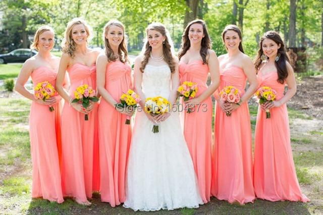 Vestido Madrinha De Casamento 2015 Coral Color Chiffon Floor Length Long Bridesmaid Dresses For Beach Wedding