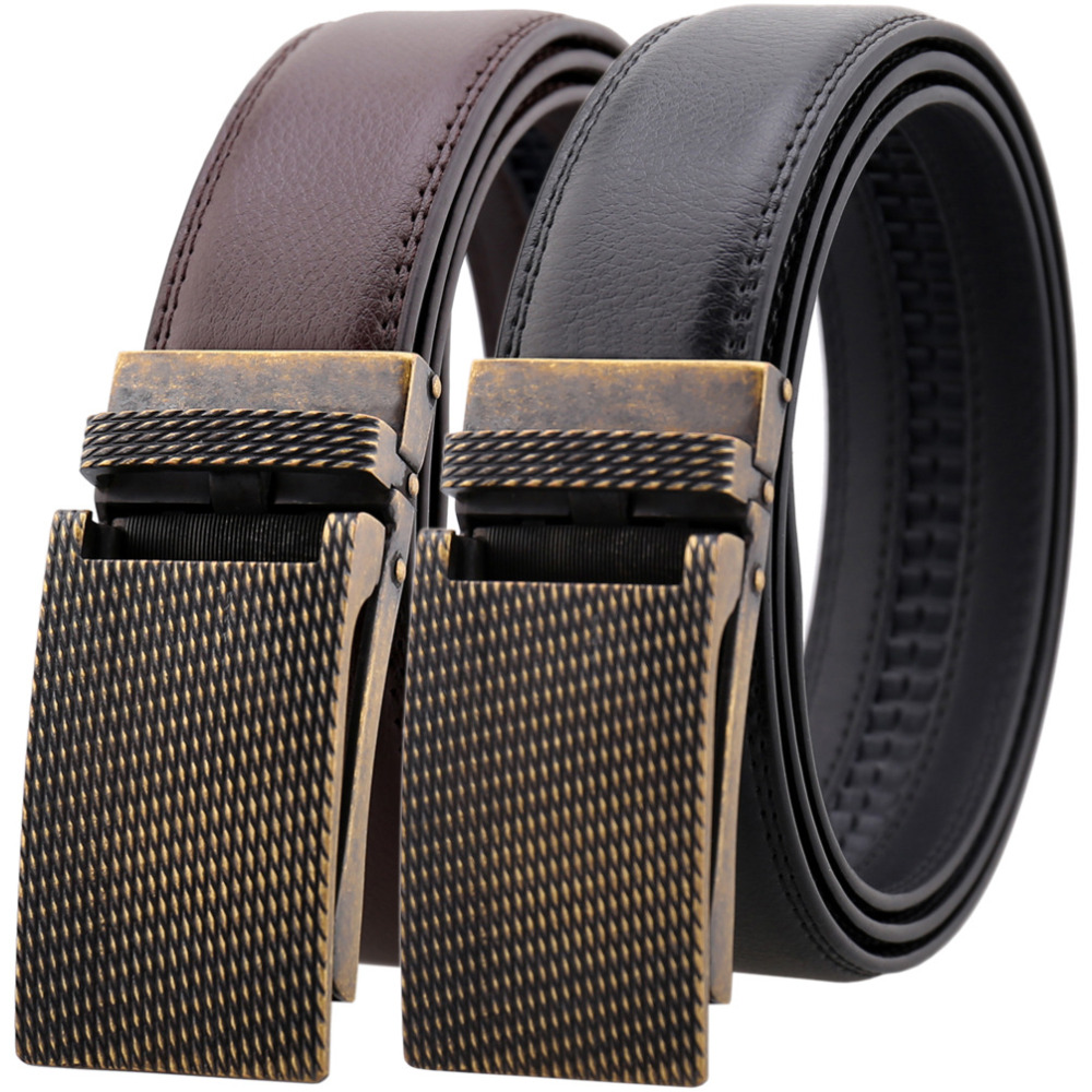 Retro Mens Belts Good Quality Metal Buckle Cowskin Waist Belt Straps Business Casual Men Belts Pure Color Split Leather Belt