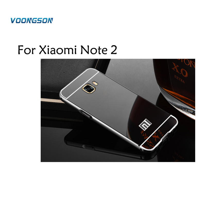 VOONGSON For Xiaomi Redmi Note 2 Luxury Metal Aluminum Frame+Acrylic Mirror Panel Hard Shell Back Cover Case Capa Cases Note2