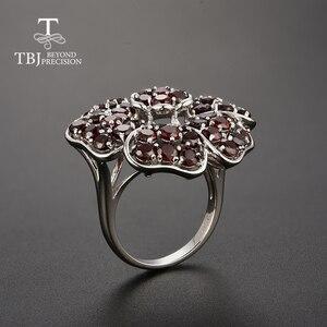 Image 4 - Tbj, büyük lüks taş yüzük doğal kırmızı garnet handsetting taşlar yüzük 925 ayar gümüş ile parti için hediye kutusu