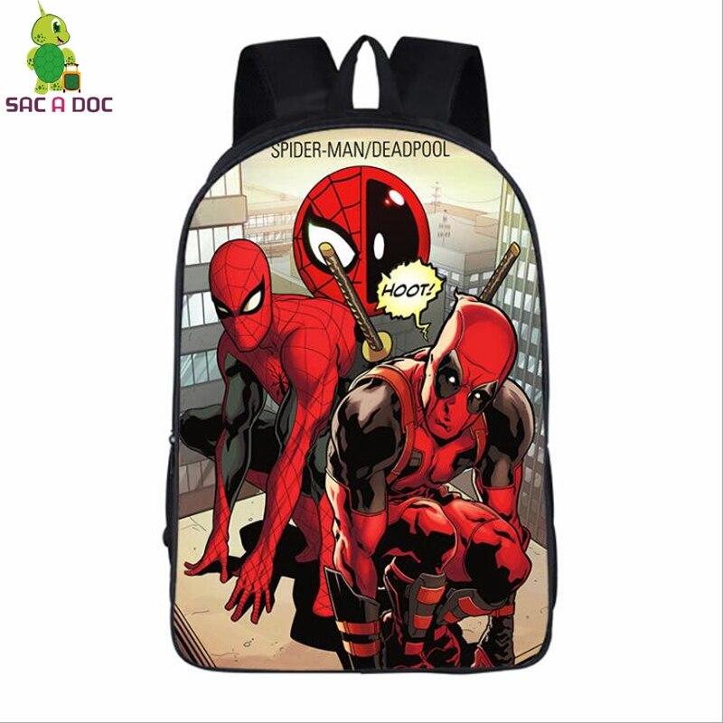 124d613c769d Avengeres Deadpool Spiderman Backpack Women Men Daily Backpack Super Hero  Deadpool 2 School Bags for Teenagers Students Book Bag