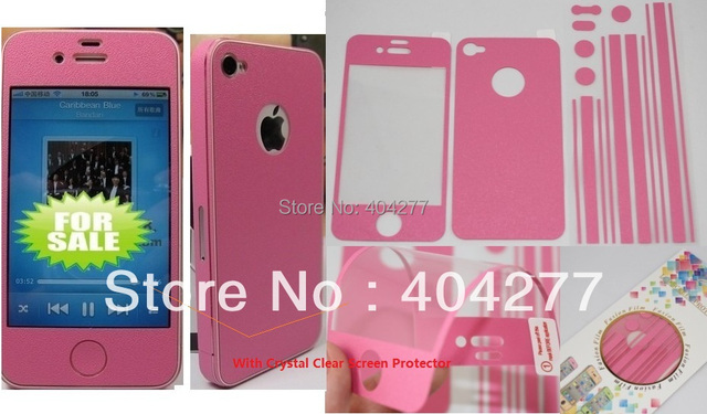 Stylish Leather Full Body Sticker Film With Clear Screen Protector For iPhone 4/4S