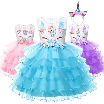 89f9ab83b YOFEEL niños Unicornio vestido para chicas Lyayered bordado de fantasía  vestido vestidos de la princesa Unicornio boda fiesta de disfraces