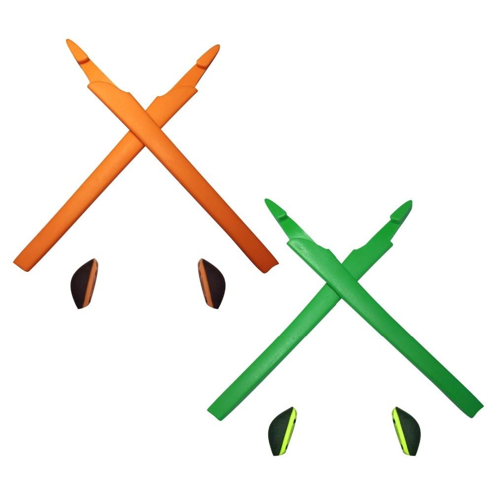 HKUCO Orange/Green Replacement Silicone Leg Set For Crosslink Sunglasses Earsocks Rubber Kit