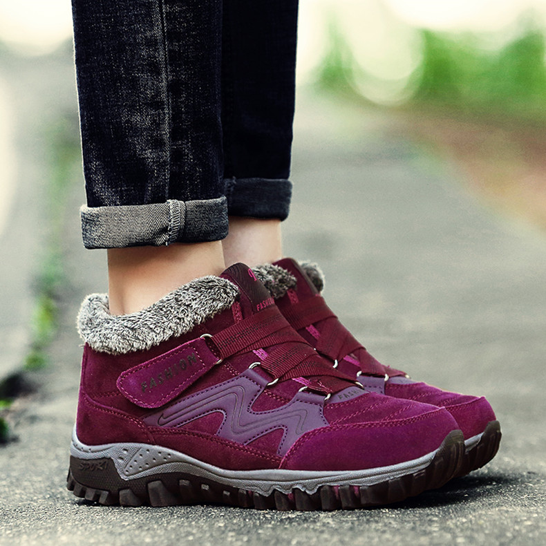 STS BRAND 2019 New Winter Ankle Boots Women Snow Boots Warm Plush Platform Boot Fashion Female Wedge Shoes Snow Waterproof shoes (15)